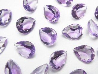 天然石卸 宝石質ピンクアメジストAAA 穴なしペアシェイプファセットカット9×7mm 10粒1,480円!