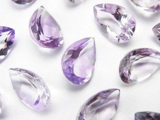 天然石卸 宝石質ピンクアメジストAAA 穴なしペアシェイプファセットカット13×9mm 5粒1,680円!