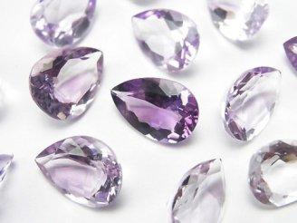 天然石卸 宝石質ピンクアメジストAAA 穴なしペアシェイプファセットカット14×10mm 3粒1,280円!