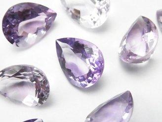 天然石卸 宝石質ピンクアメジストAAA 穴なしペアシェイプファセットカット16×12mm 3粒1,880円!