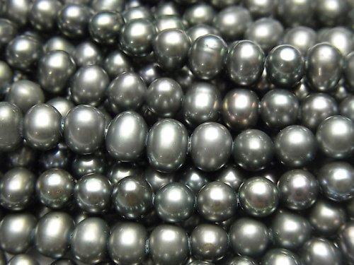 淡水真珠AAA- メタリックグリーン ポテト5〜6mm 1連(約37cm)