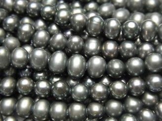 天然石卸 1連980円!淡水真珠AAA- メタリックグリーン ポテト5〜6mm 1連(約37cm)