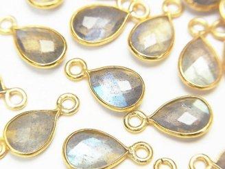 天然石卸 4個980円!宝石質ラブラドライトAAA- 枠留めペアシェイプカット10×7mm 【片カン】 18KGP 4個