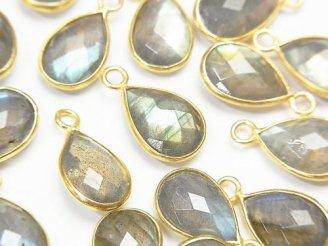 天然石卸 3個1,280円!宝石質ラブラドライトAAA- 枠留めペアシェイプカット13×9mm 【片カン】 18KGP 3個
