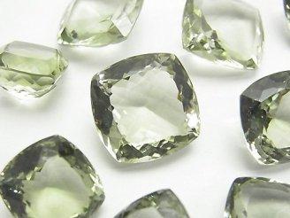 天然石卸 宝石質グリーンアメジストAAA 穴なしスクエア ファセットカット サイズミックス 2粒2,980円!