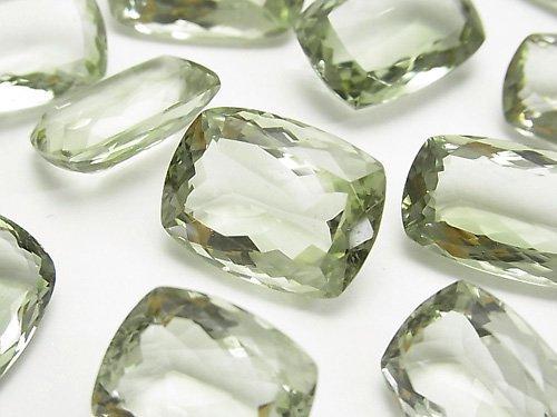 宝石質グリーンアメジストAAA 穴なしレクタングル ファセットカット サイズミックス 2粒
