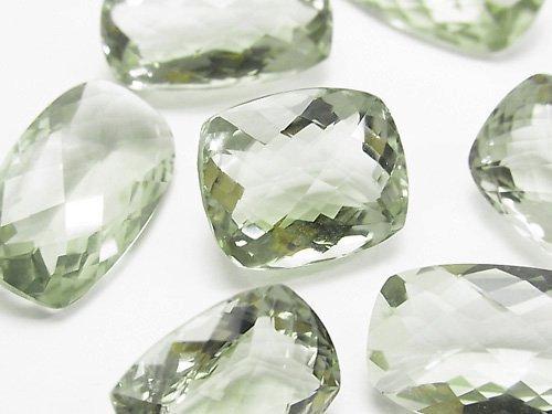 宝石質グリーンアメジストAAA 穴なしレクタングル ファセットカット(チェッカーカット) サイズミックス 2粒2,980円!
