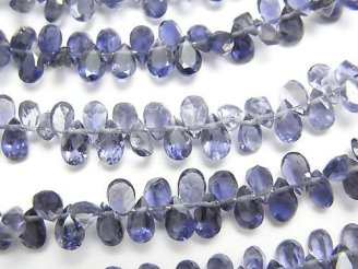 天然石卸 宝石質アイオライトAAA ペアシェイプ ファセットカット5×3mm 【ミディアム〜ダークカラー】 半連/1連(約18cm)