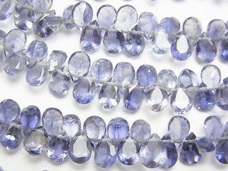 天然石卸 宝石質アイオライトAAA ペアシェイプ ファセットカット6×4mm 【ライト〜ミディアムカラー】 半連/1連(約18cm)