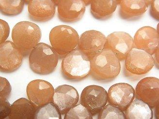 天然石卸 宝石質オレンジムーンストーンAAA- マロン ブリオレットカット 半連/1連(約20cm)