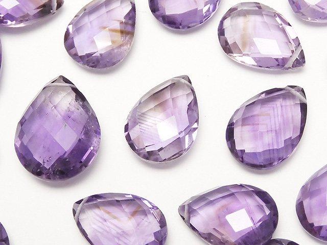 【粒売り】宝石質アメジストAA++ ペアシェイプカット サイズミックス 3粒