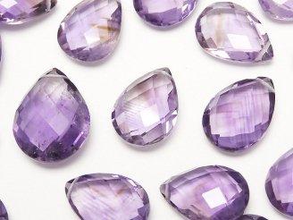 天然石卸 粒売り!宝石質アメジストAA++ ペアシェイプカット サイズミックス 3粒1,280円!