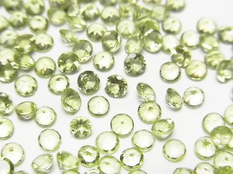 天然石卸 宝石質ペリドットAAA 穴なしラウンドファセットカット3×3×2mm 10粒380円!