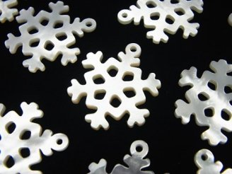 天然石卸 1個480円!高品質ホワイトシェル 雪の結晶(透かし)24×20×2mm 1個