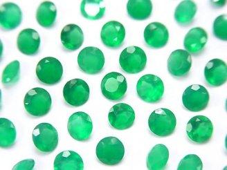 天然石卸 宝石質グリーンオニキスAAA 穴なしラウンドファセットカット4×4mm 10粒280円!