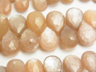 天然石卸 宝石質オレンジ〜ブラウンムーンストーンAAA- ペアシェイプ ブリオレットカット 半連/1連(約20cm)