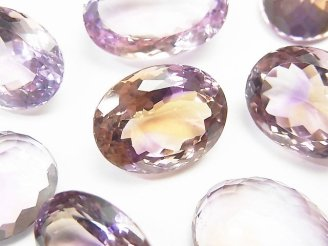 天然石卸 宝石質アメトリンAAA 穴なしオーバル〜ラウンドファセットカット サイズミックス 3粒5,980円!