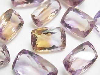天然石卸 宝石質アメトリンAAA 穴なしレクタングルファセットカット サイズミックス 3粒