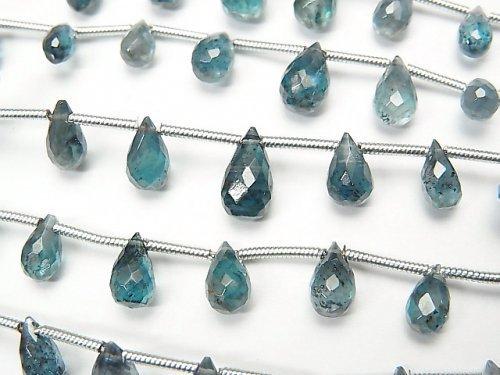 宝石質ディープブルーカイヤナイトAAA- ドロップ ブリオレットカット 1連(約17cm)