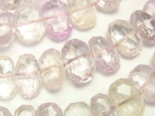 宝石質アフガニスタン産クンツァイトAAA 横長タンブルカット 半連/1連(約38cm)