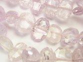天然石卸 宝石質アフガニスタン産クンツァイトAAA 横長タンブルカット 1連(ブレス)
