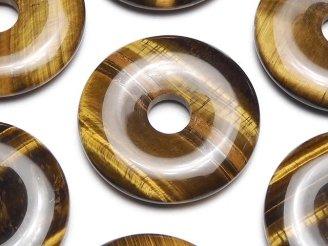 天然石卸 3枚780円!イエロータイガーアイAA++ コイン(ドーナツ)30×30×5mm 3枚
