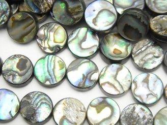 天然石卸 アバロンシェル(鮑) コイン10×10×3mm 半連/1連(約37cm)