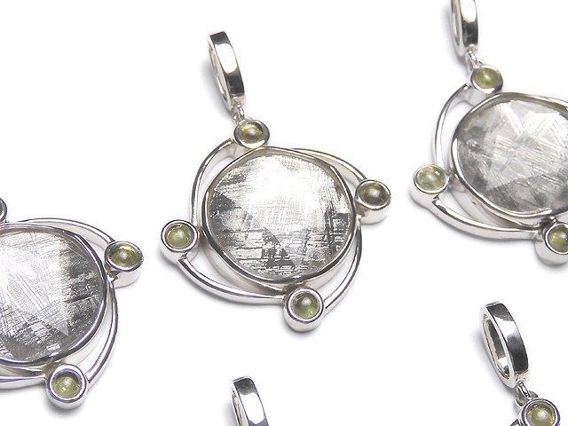 メテオライト(ムオニナルスタ隕石)&モルダバイト4石! ペンダントトップ 26×26×7mm SILVER925製
