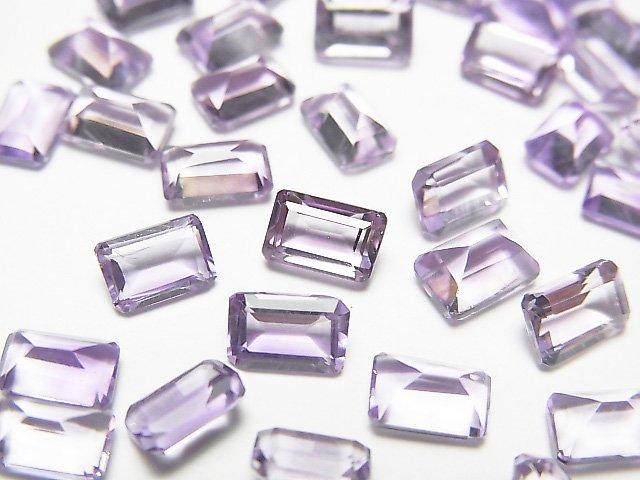 【動画】宝石質ピンクアメジストAAA 穴なしレクタングルファセットカット6×4mm 20粒