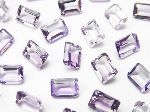 宝石質ピンクアメジストAAA 穴なしレクタングルファセットカット7×5mm 10粒