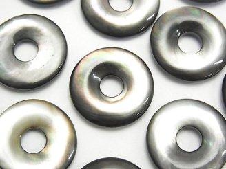 天然石卸 高品質ブラックシェル(黒蝶貝)AAA コイン(ドーナツ)20×20×4mm 1枚380円!