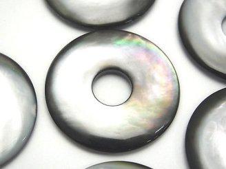 天然石卸 高品質ブラックシェル(黒蝶貝)AAA コイン(ドーナツ)35×35×5mm 1枚680円!