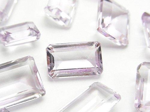 宝石質ピンクアメジストAAA 穴なしレクタングルファセットカット(ステップカット) サイズミックス 3粒1,580円!