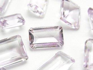 天然石卸 宝石質ピンクアメジストAAA 穴なしレクタングルファセットカット(ステップカット) サイズミックス 3粒1,580円!