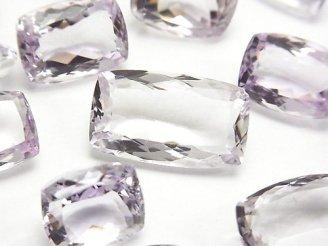 天然石卸 宝石質ピンクアメジストAAA 穴なしレクタングルファセットカット サイズミックス 3粒1,580円!