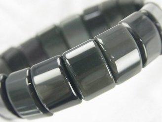 天然石卸 メキシコ産ブラックオブシディアンAAA 2つ穴レクタングル15×10×6mm 1連(ブレス)