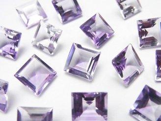 天然石卸 宝石質ピンクアメジストAAA 穴なしスクエアファセットカット9×9mm 5粒1,980円!