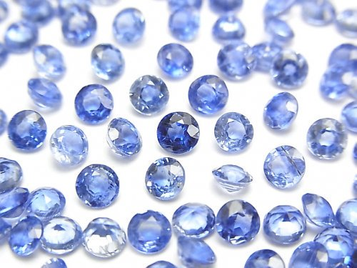 宝石質カイヤナイトAAA- 穴なしラウンドファセットカット4×4×2.5mm 10粒