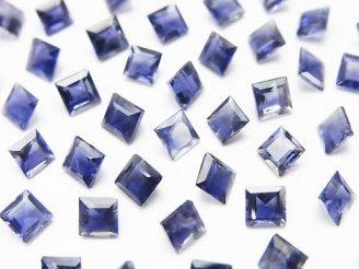 天然石卸 宝石質アイオライトAAA 穴なしスクエアファセットカット4×4mm 【ダークカラー】 10粒780円!