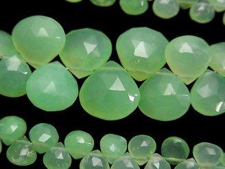 天然石卸 宝石質クリソプレーズAA++ マロン ブリオレットカット 半連/1連(約17cm)