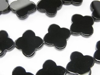天然石卸 オニキス フラワーモチーフ16×16×3mm 半連/1連(約35cm)