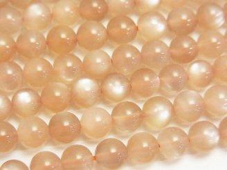 天然石卸 ピンクオレンジムーンストーンAAA ラウンド6mm 半連/1連(約38cm)