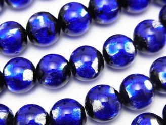 天然石卸 とんぼ玉 ラウンド10mm 【ブルー×シルバー】 1/4連〜1連(約36cm)