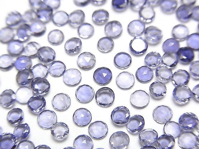 宝石質アイオライトAAA ラウンド ローズカット3×3mm 10粒