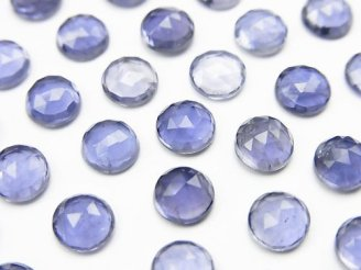 天然石卸 宝石質アイオライトAAA ローズカット ラウンド型6×6mm 5粒1,180円!