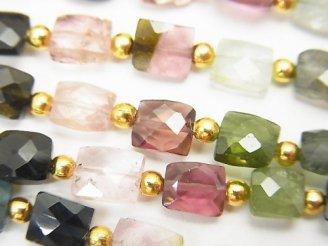 天然石卸 1連2,980円!宝石質マルチカラートルマリンAA+ レクタングルカット 1連(約18cm)