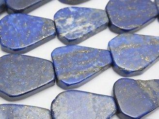 天然石卸 ラピスラズリAA フラットペアシェイプ 半連/1連(約36cm)