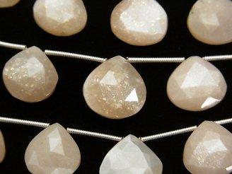 天然石卸 1連1,780円!宝石質ピーチムーンストーンAAA- 大粒マロン ブリオレットカット 1連(11粒)