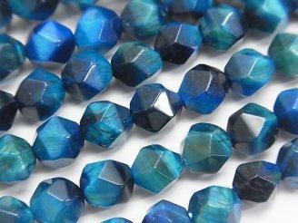 天然石卸 1連980円!ブルーグリーンカラータイガーアイAA+ 20面ラウンドカット8mm 1連(約36cm)