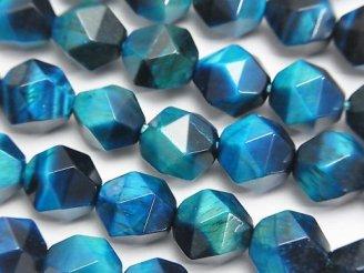 天然石卸 1連1,180円!ブルーグリーンカラータイガーアイAA+ 20面ラウンドカット10mm 1連(約36cm)